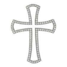 <strong>Jewelryweb</strong> Sterling Silver CZ Rhodium Plated Micro Pave Cross PendantPen