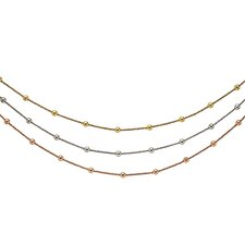 Ster. Silver Color Gold Plated Rose Gold Plated Ruthenium Plated 3-row Sparckle Necklace - 18 Inch