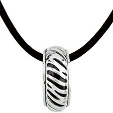 Sterling Silver Genuine Onyx Pendant22.5x6.5mm