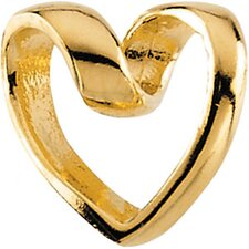 14k Gold Child Ribbon Heart Pendant15 In Chain 9x9.5mm