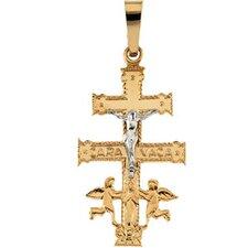 14k Two-Tone Cara Vaca Cross Pendant