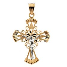 14k Two-Tone Crucifix Pendant32.5x25.5mm