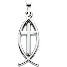 Sterling Silver Fish With Cross Pendant