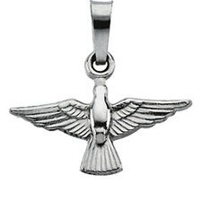 14k White Gold Holy Spirit Pendant12x18mm