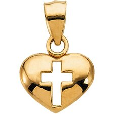 <strong>Jewelryweb</strong> 14k Yellow Gold Cross Heart Pendant7.75x10.25mm