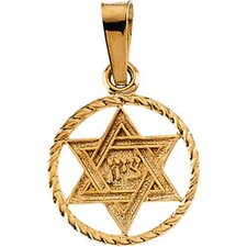 <strong>Jewelryweb</strong> 14k Yellow Gold Star Of David Pendant14x11mm