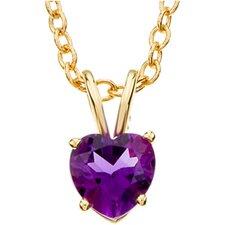 14k Yellow Gold Genuine Amethyst Heart Necklace 6mmGen Ame 18 Inch