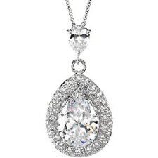 <strong>Jewelryweb</strong> Sterling Silver CZ Necklace