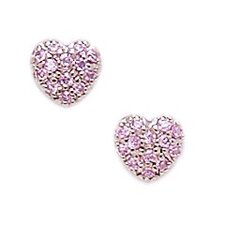 <strong>Jewelryweb</strong> 14k White Gold Pink CZ Heart Screwback Earrings