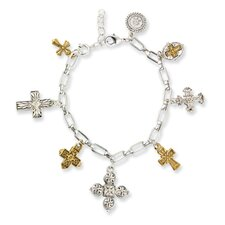 Gold and Silver-tone Seven Cross Charm Bracelet