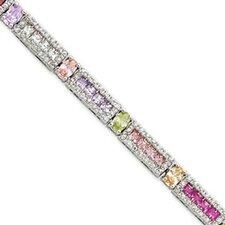 Sterling Silver Multicolor CZ Tennis Bracelet - Box Clasp