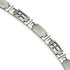 Stainless Steel Cross and Link Bracelet