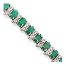 <strong>Jewelryweb</strong> 13.0 cttw Sterling Silver Genuine Emerald and Diamond Bracelet - Box Clasp
