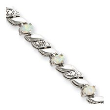 Sterling Silver Box Clasp Created Opal and Diamond Bracelet