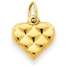 14K Quilted Puffed Heart Charm