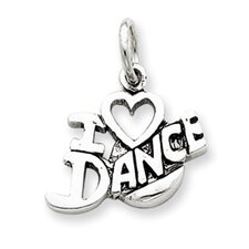Sterling Silver Antiqued I Love Dance Charm