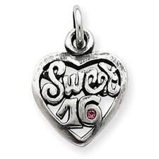 Sterling Silver Antiqued Sweet 16 Heart Charm