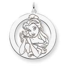 Sterling Silver Disney Belle Round Charm