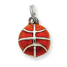 Sterling Silver Enameled Basketball Charm