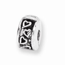 Sterling Silver Reflections Hinged Hearts Clip Bead Charm