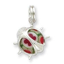 <strong>Jewelryweb</strong> Sterling Silver Resin Ladybug Charm