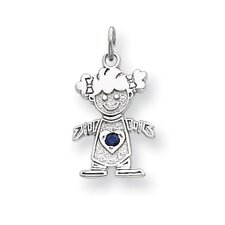 <strong>Jewelryweb</strong> 14k White Gold Cubic Zirconia Girl Birthstone Charm