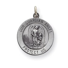 Sterling Silver Guardian Angel Medal Charm