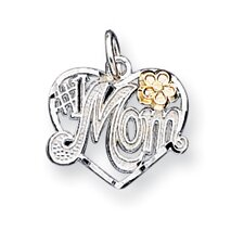 Sterling Silver Number 1 Mom Heart Charm
