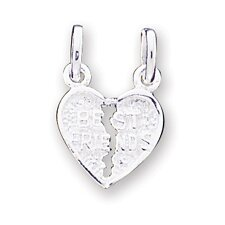 Sterling Silver Best Friends 2-Piece Break Space Apart Heart Charm