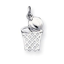 Sterling Silver Basketball In Hoop Charm