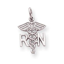 14k White Gold Registered Nurse Charm