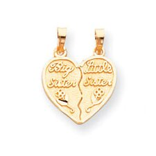 14k 2 Piece Break Apart Big Sister and Little Sister Charm