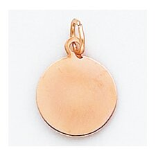 14k Rose Gold Plain Round Disc Charm