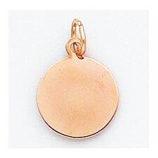 14k Rose Gold Plain Round Disc Charm