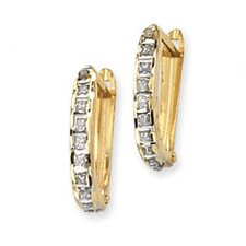 14k Diamond Fascination Leverback Hinged Hoop Earrings