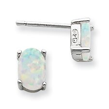 <strong>Jewelryweb</strong> Sterling Silver Created Opal Post Earrings
