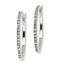 <strong>Jewelryweb</strong> Diamond Mystique Round Hinged Hoop Earrings