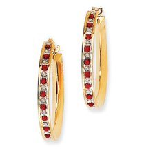 Sterling Silver and Gold-plated Dia. and Ruby Round Hinged Hoop Earrings