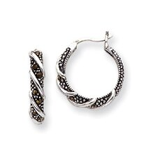 <strong>Jewelryweb</strong> Sterling Silver Swirl Hoop Marcasite Earrings