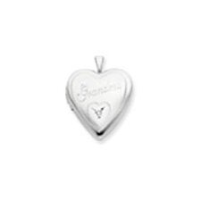 <strong>Jewelryweb</strong> Sterling Silver 20mm Grandma with Diamond Heart Locket