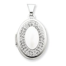 Sterling Silver 21mm Oval White Crystal Border Recess Locket