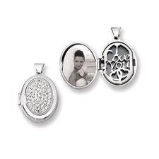 <strong>Jewelryweb</strong> Sterling Silver Pave Crystal 21mm Oval Locket