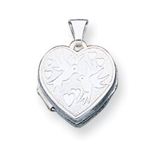 <strong>Jewelryweb</strong> Sterling Silver Love Birds Heart Locket