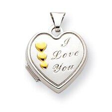 14k White Gold and Rhodium 15mm Heart Locket