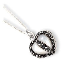 Sterling Silver Marcasite MOP Heart Locket Chain - Spring Ring