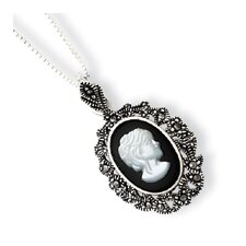 Sterling Silver Marcasite Onyx MOP Cameo Necklace - Spring Ring