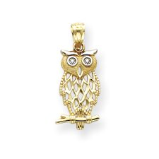 <strong>Jewelryweb</strong> 14k With Rhodium Owl Pendant