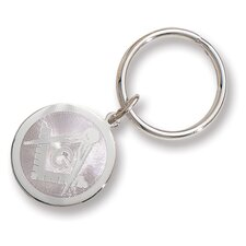 Silver-plated and Rhodium Round Masonic Key Ring