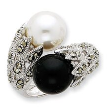 Sterling Silver CZ Black White Cultured Pearl Ring
