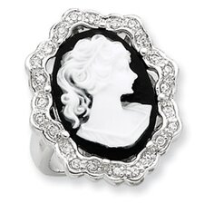 <strong>Jewelryweb</strong> Sterling Silver CZ Cameo Ring